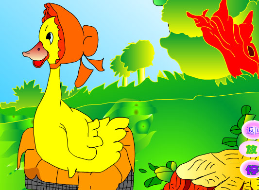 幼儿园大班语言活动童话故事:丑小鸭 (flash动画课件)
